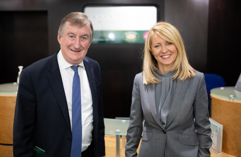 Esther McVey MP with Mike Roberts, Deputy Chairman of Roberts Bakery
