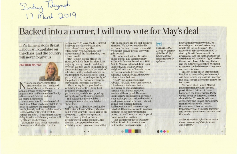 My article in the Sunday Telegraph