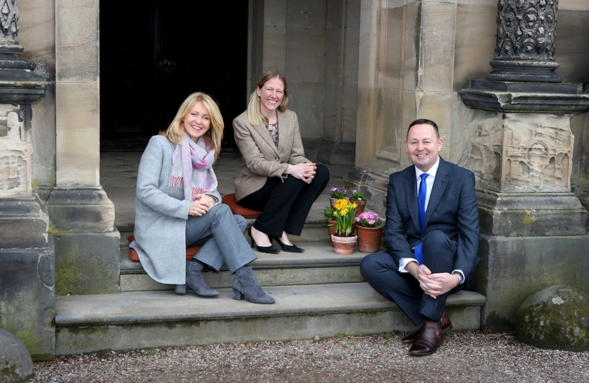 Annika Flower of Arley Hall, Mark Livesey CEO of Marketing Cheshire and Esther McVey MP